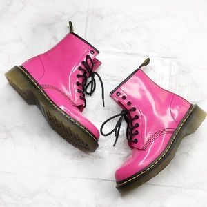 Dr. Martens 1460 Pink Patent Leather Lace Up Boots